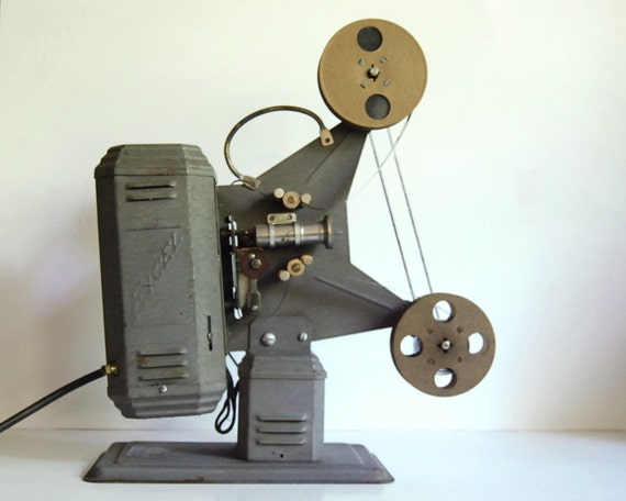 Vintage 1930s Movie Projector Excel P-36 16mm Silent Movies with Two Reels, Cartoons, Gene Autry