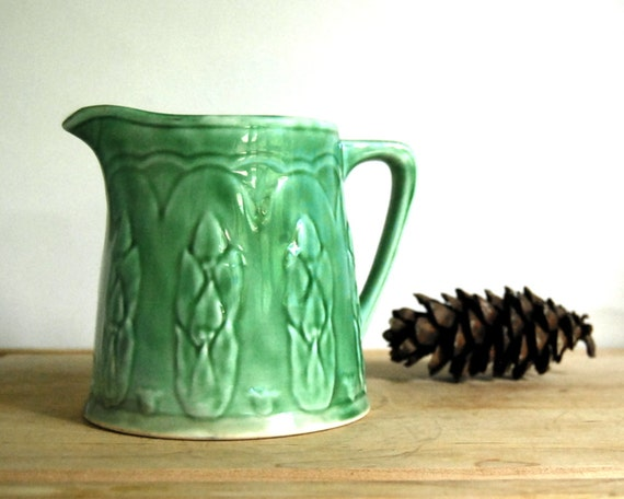 Vintage Pitcher Green Asparagus Milk Pitcher Yellowware Rustic Cottage Chic Antique