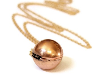 Secret Message Locket - Vintage Copper Ball Locket Necklace