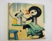 retro penguin double switch plate vintage 1950's rockabilly bathroom decor animal kitsch