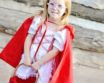 Cute Little Red Riding Hood Costume Dress and Cape