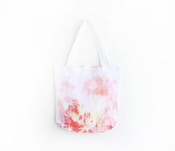 SALE pink coral and scarlet splashed dyed texture tote