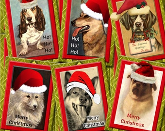 SaNTA PaWS -CHRiSTMAS DoGS -ALterED ArT HangTags/ CaRDS-Instant Download -Printable Collage Sheet  JPG Digital File-BuY One GeT ONe FREE