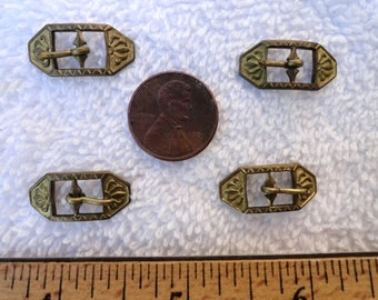 Four Vintage Miniature Brass Buckles, Deco Style, 10mm x 22mm