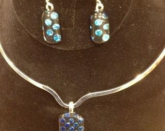 Dichroic Blue Dot Pendant and Earring Set