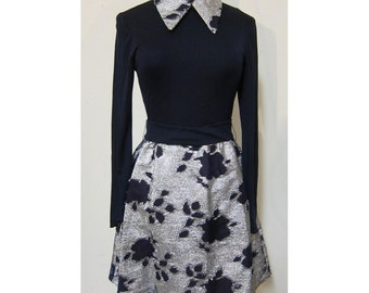 70s 60s French Schoolgirl Navy and Silver Lame' dress with pointed collar