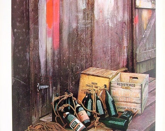 Green Bottles - Vintage Colored Photograph - 1966 Book Page
