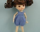 Amelia Thimble doll handmade knitted blue silk romper AM73