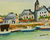 Quaint French Port in Brittany - Original in Wood Frame