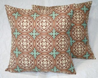 Modern Scrollwork Throw Pillow Cover Joel Dewberry Aviary 2 Scrollwork in Caramel - 16 Inch  (16-308**)