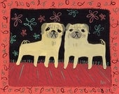 2 Pugs ACEO - Art Trading Card - Mini Print Folk Art Animal Dog Card