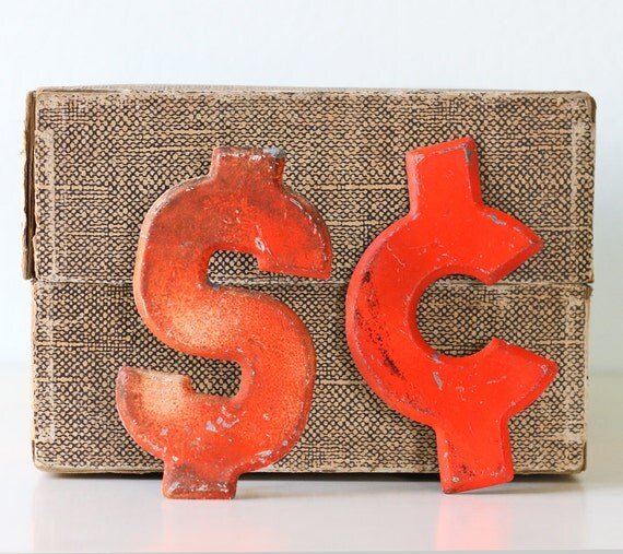 Vintage Orange Signs - Dollar and Cents