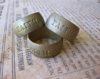 1 PC Faith - Raw Brass Solid Heavy Gauge Ring Band SZ 6 - HH13