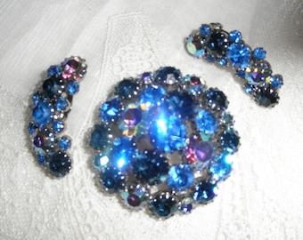 Vintage Antique Karu Arke Signed Blue Rhinestone  Pin Brooch & Earrings