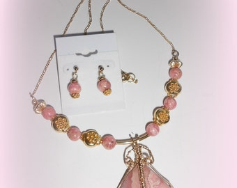 Rhodochrosite and gold necklace and earrings set