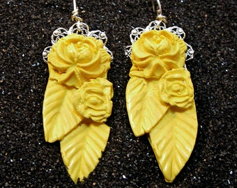 PLAIN FANCY Big Bold Bright Yellow Carved Look Floral Drop Earrings