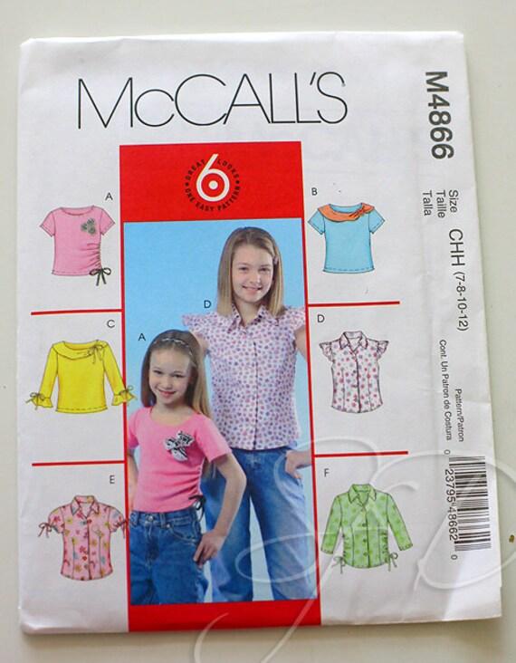 McCalls 4866... girls top pattern... destash