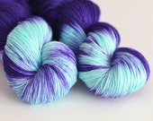 Hecate - Hand Dyed Yarn - Sock Yarn - Dark Purple and Turquoise - Variegated - Greek Mythology
