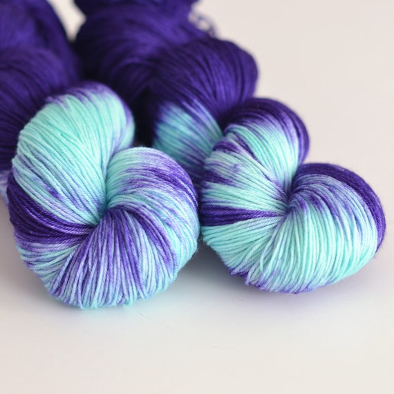 Hand Dyed Yarn : Hecate - Hand Dyed Yarn - Sock Yarn - Dark Purple and Turquoise ...