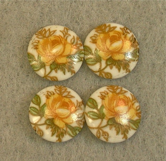 Vintage Porcelain CABOCHONS Japanese White Yellow ROSES 10mm Cabochon pkg4 por210