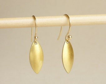 Marquise Brass Gold  Earrings, Bridesmaid Gift. Minimal Jewelry,Gift under 15