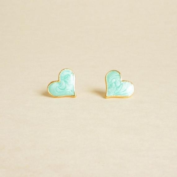 Lovely Blue Heart  - Pearl Blue Enameled on Heart Gold Setting Ear Studs - gift under 10 - 13 mm