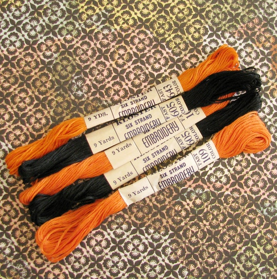 Witchy Stitchy...Vintage Embroidery Threads in Halloween Shades