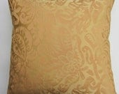 Gold Silk Pillow Cover -- Fortuny Style Gold Silk Cushion Cover -- 18 x 18