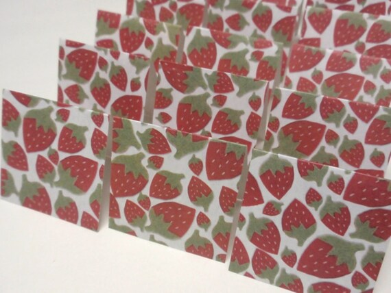 18 Mini Cards - blank for thank you notes - strawberries