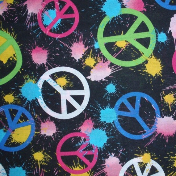 Peace sign fabric splatter paint by ksewingbasket on Etsy