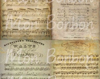 Vintage Music Sheets Digital Collage Sheet - INSTANT DOWNLOAD