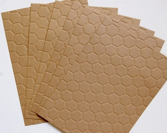 10 Embossed Honeycomb Kraft Papers for cardmaking, scrapbooking, journaling, paper crafts 5x7