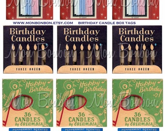 Vintage Birthday Candles Digital Collage Sheet - INSTANT DOWNLOAD