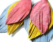 Leather Feather Earrings in canary yellow, peach and gray - recycled