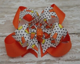 "Boutique Candy Corn Halloween Layered 4"" Hair Bow Halloween Hair Bow Candy Corn Hair Bow"
