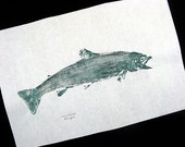 Dolly Varden Trout GYOTAKU Japanese Fish Rubbings on Rice paper 12X18 Cottage Art