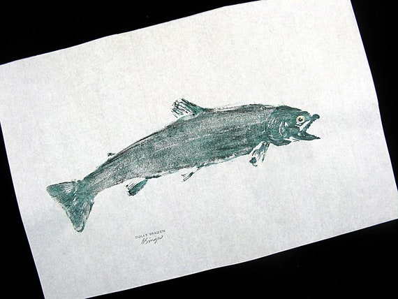 Dolly Varden Trout Original GYOTAKU Japanese Fish Rubbings on Rice paper 12X18 Cottage Art