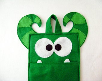 Monster Stocking, Christmas Stocking, Felt Monster, Benji the Green Monster, Horns, Creature Stocking, Gifts under 50