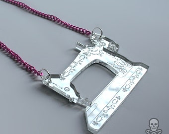 Antique Sewing Machine silver mirror necklace - smarmyclothes seamstress crafter quilter