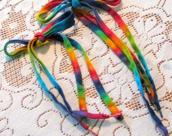 Tie Dye Rainbow Cotton Shoelaces