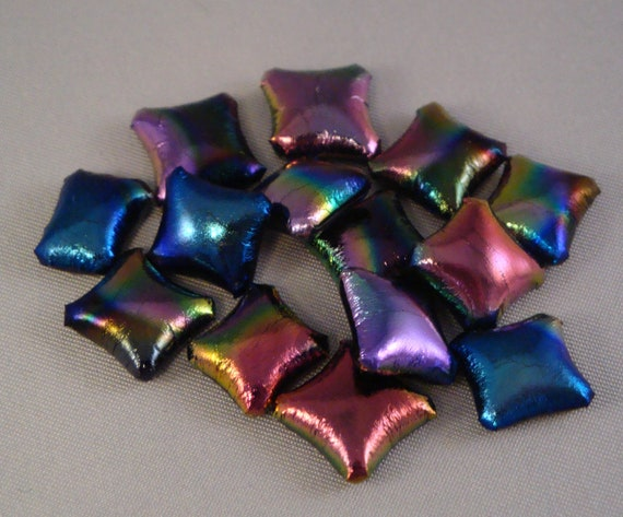 Patterned Dichroic on Black Fused Glass Pillow Square Cabochons for Crafting by Solaris Beads 1793