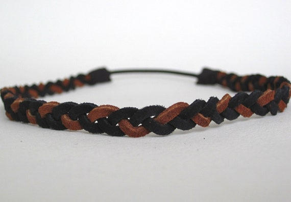 Leather Headband Braided Headband Leather Accessories Boho Hairband, comfortable  - Black and brown suede