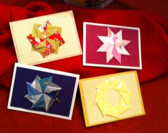 Origami Pin Wheels, Stars, Wreaths and Flowers Greeting Cards - D