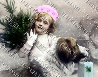 Victorian Christmas Girl and dog St. Bernard Tree Winter Clover Antique French postcard Photo Digital Scan