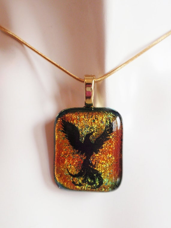 Special Order Melissa -  Phoenix Pendant- Red and Gold Dichroic Fused Glass Necklace Pendant - Rising Phoenix - Free Shipping