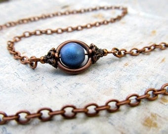 Rustic blue Copper necklace  Simple necklace Copper Jewelry