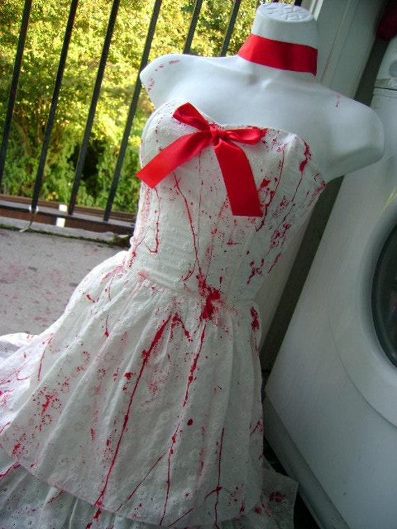 CORPSE bride halloween costume sexy zombie dress VAMPIRE splatter white splattered pin up wedding dress US size 8 - 10