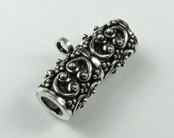 Ornate Bali Sterling Silver Tube Bead Bail with Loop for Dangle or Pendant, Jewelry Findings, Pendant Bail (1 bead)