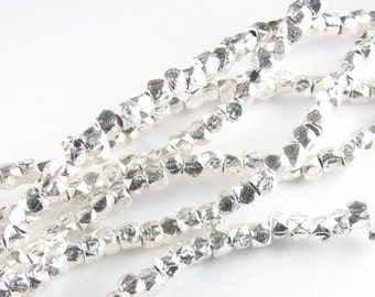 3mm Rounded Square Sterling Silver Brushed Nugget Spacer Beads (20 beads)