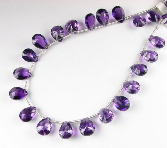 AAA Luxe Dark Purple Amethyst Quartz Double Concave Cut Pear Briolettes 10mm - 11mm (4 gems)